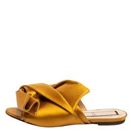 No. 21 Yellow Satin Knot Flat Mules Size 39 340676