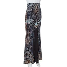 Roberto Cavalli Black Printed Jersey Fit & Flare Maxi Skirt L 336206