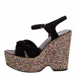 Saint Laurent Black Suede and Coarse Glitter Wedge Platform Sandals Size 36.5 340681