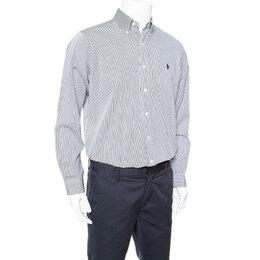 Ralph Lauren Monochrome Striped Cotton Long Sleeve Shirt M 336217