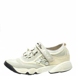 Dior White Mesh Fusion Flower Runway Sneakers Size 36 336199