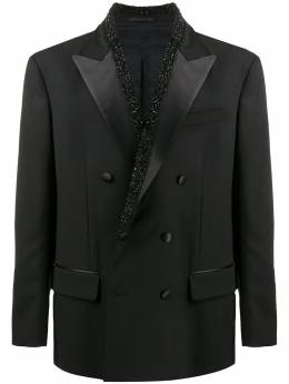 Versace crystal-embellished double-breasted blazer A87983A237362