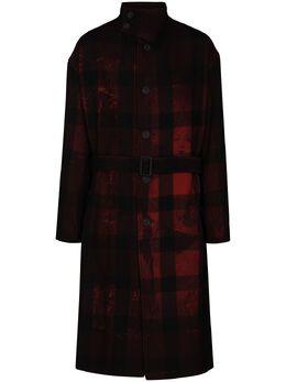 Yohji Yamamoto клетчатое пальто Kanji из коллаборации с Uchida Suzume HRC12126