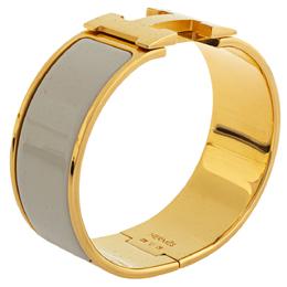 Hermes Clic Clac H Cream Enamel Gold Plated Wide Bracelet PM 339237