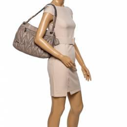Miu Miu Beige Metalasse Leather Shoulder Bag 340450