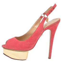 Charlotte Olympia Pink Suede Slingback Peep Toe Platform Sandals Size 37.5 341005