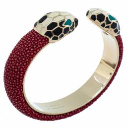 Bvlgari Serpenti Forever Red Galuchat Leather Open Cuff Bracelet 339355