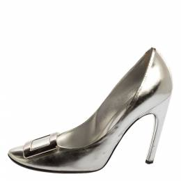 Roger Vivier Silver Foil Leather Pumps Size 39.5 340998