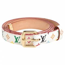 Louis Vuitton White Multicolor Monogram Canvas Skinny Belt 90 CM 340945