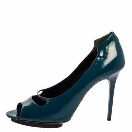 Balenciaga Peacock Blue Patent Leather Peep Toe Pumps Size 39.5 340953