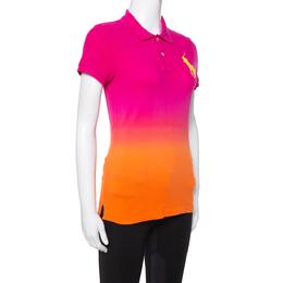 Ralph Lauren Pink Ombre Cotton Pique Skinny Polo T-Shirt M 336831
