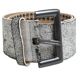 Alexander McQueen White/Black Textured Leather Wide Belt Size 75 CM 340941