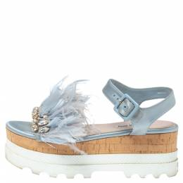 Miu Miu Blue Satin Feather/Crystal Embellished Platform Sandals Size 38 336748