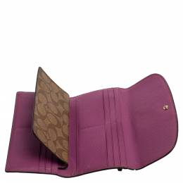 Coach Beige/Magenta Signature Coated Canvas and Leather Continental Wallet 340915