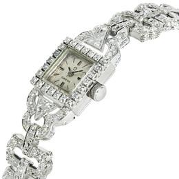 Omega White Diamonds 18K White Gold Vintage Dress 650 Women's Wristwatch 9 MM 336337