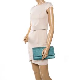 Saint Laurent Mint Green Patent Leather Belle De Jour Flap Clutch 336354