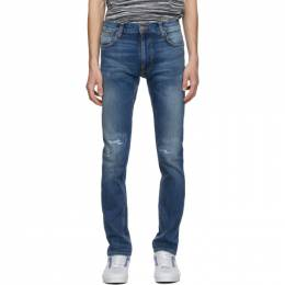 Nudie Jeans Blue Ripped Thin Finn Jeans 113458