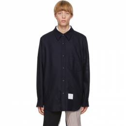 Thom Browne Navy Flannel 4-Bar Snap Front Shirt Jacket MJO055A-06393