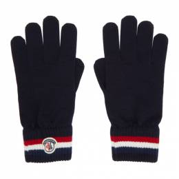 Moncler Navy Wool Stripe Gloves F20913A70100A9575