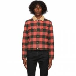 Saint Laurent Black and Red Sherpa Check Jacket 624690Y992O