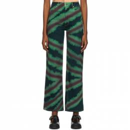 Eckhaus Latta Green and Red Directional Spray Wide Leg Jeans 334-EL-PF20-DS