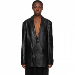 Vetements Black Leather Suit Jacket UAH21JA009