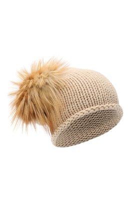 Вязаная шапка из кашемира с меховым помпоном Inverni 2922CMG2