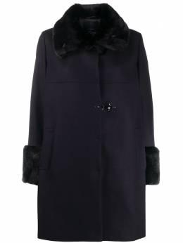 Fay однобортное пальто с искусственным мехом NAW50413900SGLU809