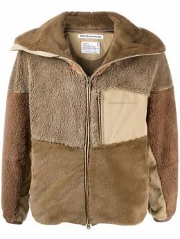 White Mountaineering fleece panelled zip-up jacket AW20WM2073520