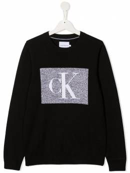 Calvin Klein Kids джемпер в рубчик с логотипом IB0IB00623