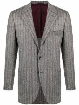 Kiton однобортный пиджак с узором в елочку K01T7106