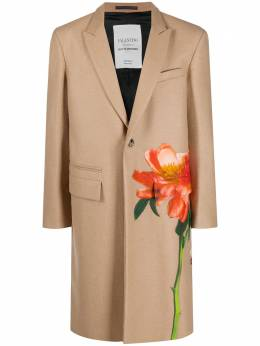 Valentino однобортное пальто с нашивкой UV0CAD656UY