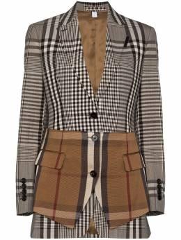 Burberry однобортный пиджак в клетку с контрастной баской 4566100