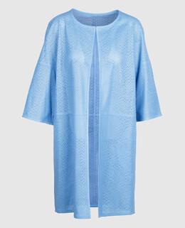 Голубой плащ из перфорированной кожи ягненка Yves Salomon 2300003922858