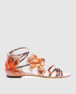 Золотистые кожаные сандалии Lolita Jimmy Choo 2300004025213