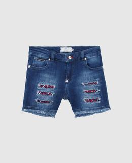 Детские синие джинсовые шорты Philipp Plein 2300004589449