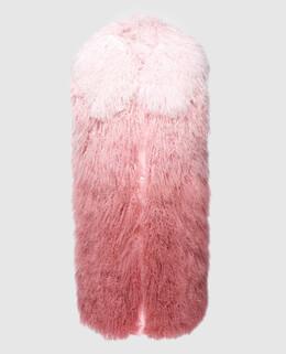 Розовый жилет из меха ягненка Moncler 2300004382910