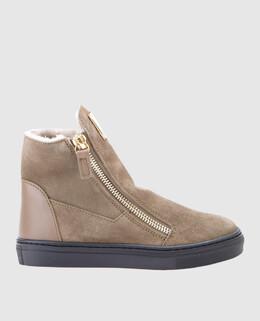Бежевые замшевые ботинки на меху Giuseppe Zanotti Design 2300004444618