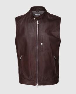 Коричневый кожаный жилет Brunello Cucinelli 2300004763078