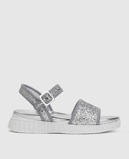 Серебристые сандалии Miu Miu 2300005118372