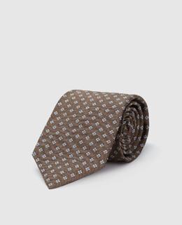 Коричневый галстук из шелка Isaia 2300005153915