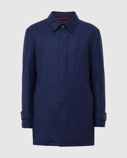 Темно-синее пальто из шерсти и кашемира Isaia 2300005497835