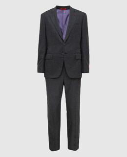 Серый костюм из шерсти и кашемира Isaia 2300005399580