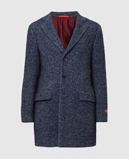 Темно-синее пальто Isaia 2300005501273