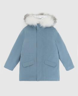 Детская синяя парка с мехом лисы Yves Salomon Enfant 2300005645984