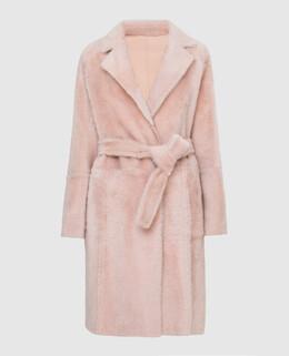Двухсторонняя светло-розовая дубленка Yves Salomon 2300005646387