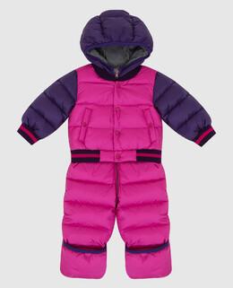 Детский розовый пуховой комбинезон Moncler Enfant 2300005633431