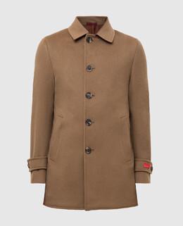 Бежевое пальто из шерсти Isaia 2300005599898