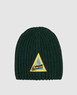 Детская зеленая шапка из шерсти Moncler Enfant 2300005633004