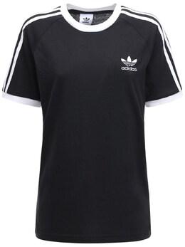 Футболка Из Хлопка 3-stripes Adidas Originals 72IGZU010-QkxBQ0s1